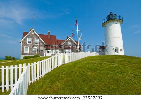 Nobska Lighthouse overlooking Woodshole, Cape Cod, MA.USA - stock photo