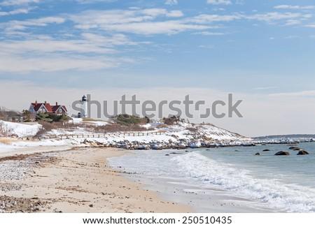 Nobska Point Lighthouse in Snow - stock photo