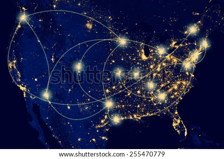 Nocturnal aerial view of the U.S.A. , Highways and airlines lighted.