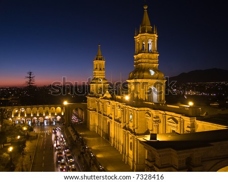 Nocturnal Plaza De Armas and Cathedral – Arequipa, Peru - stock photo