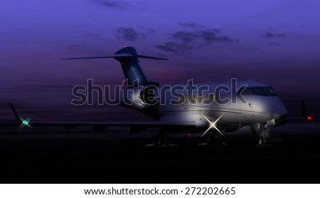 Nocturnal shot of a private jet - stock photo