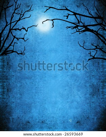 nocturne  background with trees and moon - stock photo