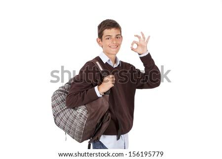 nod student isolated on white - stock photo