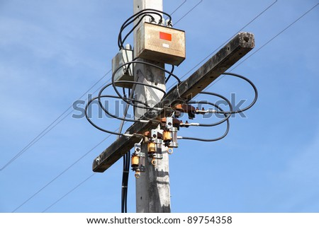 Node of electric pole junction. - stock photo