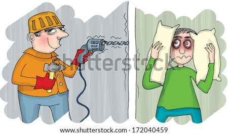 Noise at home.Construction worker drilling and man covering his ears with pillow, cartoon - stock photo