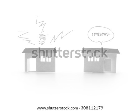 noise from neighbor (house papercut on white background) - stock photo