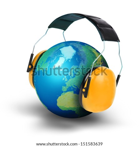 Noise pollution concept planet earth isolated white background - stock photo