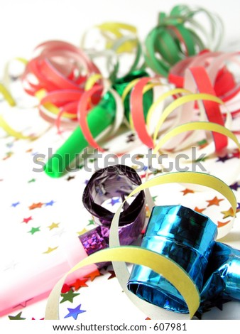 Noisemakers and Confetti - stock photo