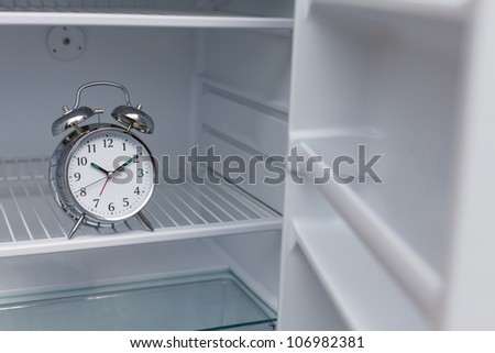 Noisy alarm clock hidden in a fridge