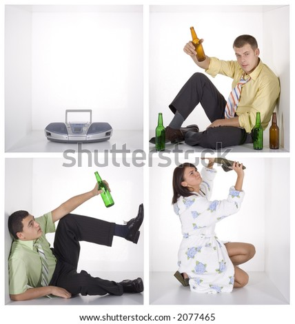 noisy party in the cubes - two businessmen and angry woman - stock photo