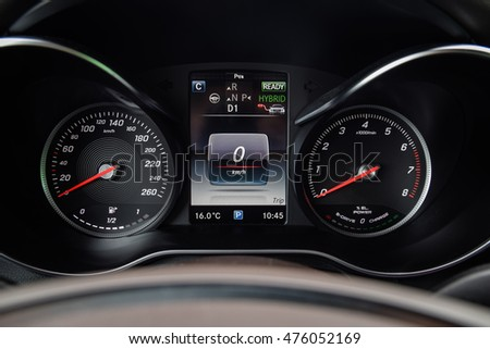 NOKIA, FINLAND - AUGUST 25, 2016: Mercedes-Benz GLC 350 e Plug-In Hybrid at the test-drive. Close up photo of the dashboard.