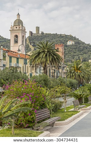 Noli is a town in the Liguria region and is situated on the Gulf of Genoa - stock photo