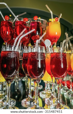 Non-alcoholic cocktails in one of the hotels in Egypt: Valentine's Day. - stock photo