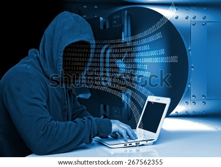 non face hacker and vault background - stock photo
