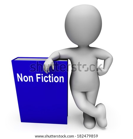 Non Fiction Book And Character Showing Educational Text Or Facts