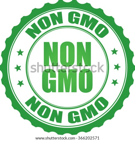Non GMO green grunge stamp. - stock photo