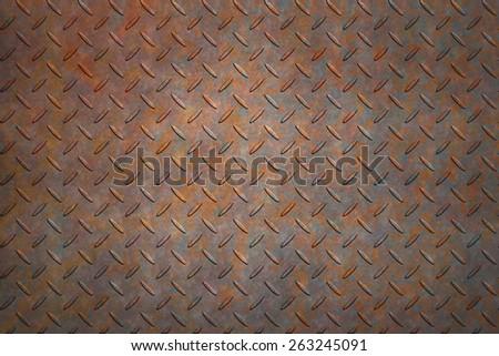 Non-slip metal floor sheet with rust - stock photo