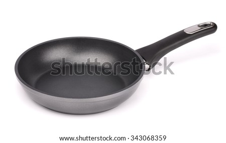 Non stick frying pan isolated on white - stock photo