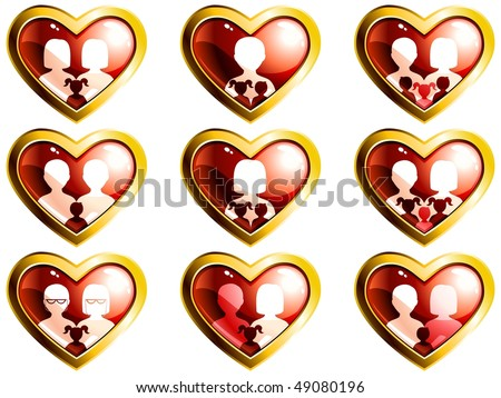 Non-traditional families heart-shaped buttons (JPG); vector version also available - stock photo
