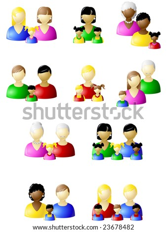 Non-traditional families icon set (JPG); a vector version is also available - stock photo