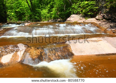 Nonesuch Falls in the Porcupine Mountains Wilderness State Park of Michigan - stock photo