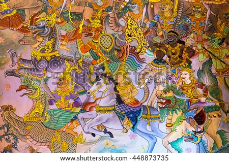 NONG KHAI, THAILAND - June 30, 2016:Mural Paintings of Buddha Story at the temple of WAT PHO CHAI, Mueang Nong Khai Municipality, Thailand