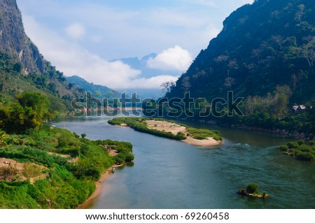 Nong khiaw river, Northern of Laos - stock photo