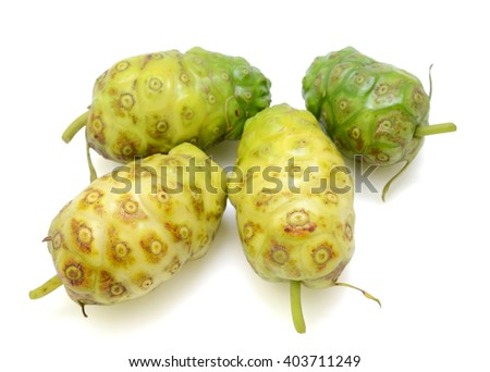 Noni fruits isolated on white background