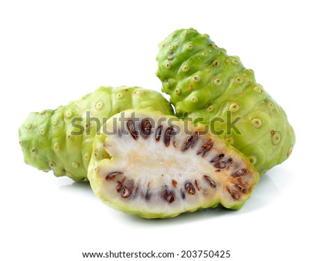Noni Indian Mulberry fruit on white background - stock photo