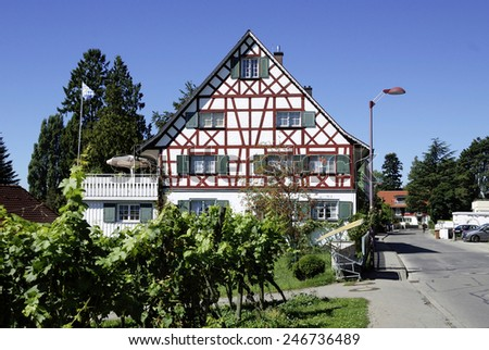 Nonnenhorn, Bavaria, Germany - September 3, 2013: Half-timbered house on the shore of Lake Constance in the wine village Nonnenhorn near Lindau in Bavaria.
