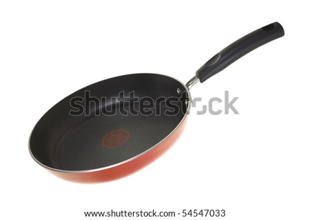 Nonstick frying pan; isolated on white background - stock photo