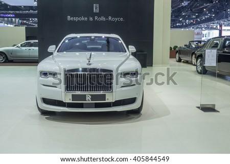 NONTABURI, THAILAND - 23 MAR : Rolls-Royce Ghost Extended Wheelbase ,named Kachamongkol in Thai, showed in Thailand the 37th Bangkok International Motor Show on 23 March 2016 - stock photo