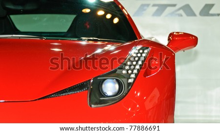 NONTABURI,THAILAND-MAY 21: a Ferrari 458 Itatia on display at the Super Car & Import Car Show on May 21,2011 in Nontaburi, Thailand. - stock photo