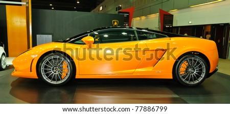 NONTABURI,THAILAND-MAY 21: Lamborghini Gallardo LP560-2 on display at the Super Car & Import Car Show on May 21,2011 in Nontaburi, Thailand. - stock photo