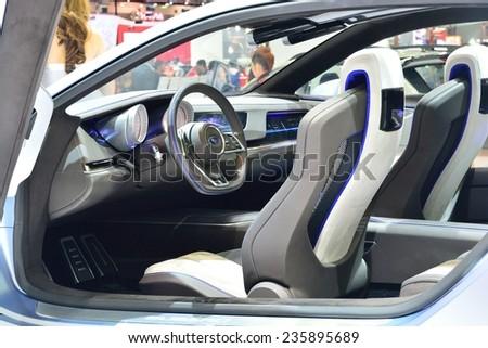 NONTHABURI - DECEMBER 1: Interior design of Subaru VIZIV concept car display at Thailand International Motor Expo on December 1, 2014 in Nonthaburi, Thailand. - stock photo