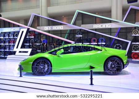 NONTHABURI - DECEMBER 8:  Lamborghini car on display at Thailand International Motor Expo 2016 on December 8, 2016 in Nonthaburi, Thailand.