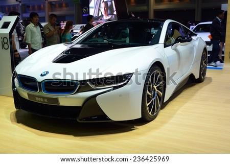 NONTHABURI - DECEMBER 1: New BMW I8 Sports car display at Thailand International Motor Expo on December 1, 2014 in Nonthaburi, Thailand. - stock photo