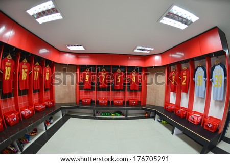 NONTHABURI-FEB 8:Athletic dressing rooms team SCG MuangThong utd. during  football AFC Champions League 2014 between MTUTD and Hanoi T&T at SCG stadium on February8,2014 in Thailand   - stock photo