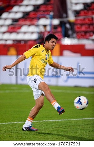 NONTHABURI-FEB 8,Nguyen Tien Deng of of Hanoi T&T in action during a training ahead AFC Champions League 2014 between SCG Muangthong utd and Hanoi T&T at SCG Stadium on February 8,2014 in Thailand