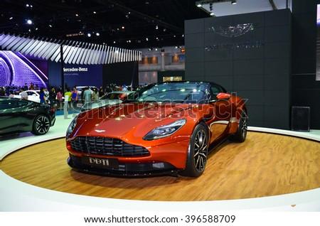 NONTHABURI - MARCH 26: Aston Martin DB11 on display at The 37th Bangkok International Thailand Motor Show 2016 on March 26, 2016 Nonthaburi, Thailand. - stock photo