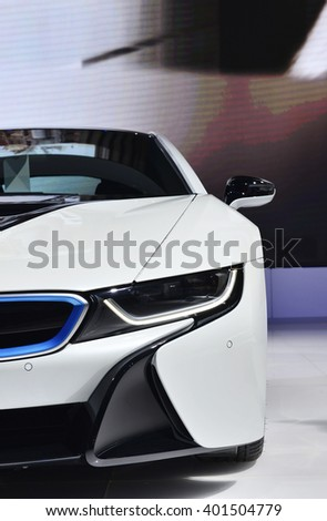 NONTHABURI - MARCH 23: BMW i8 on display at The 37th Bangkok International Motor show on MARCH 23, 2016 in Nonthaburi, Thailand.
