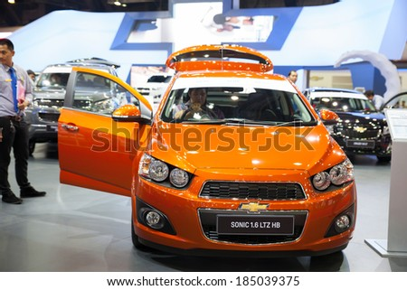 NONTHABURI - MARCH 26:Chevrolet Sonic 1.6 LTZ HB on display at The 35th Bangkok International Motor show on MARCH 26,  2014 in Nonthaburi, Thailand.