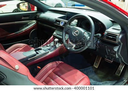 NONTHABURI - MARCH 23: Interior Design of NEW Lexus RC 200T on display at The 37th Bangkok International Motor show on MARCH 23, 2016 in Nonthaburi, Thailand. - stock photo