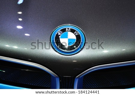 NONTHABURI - MARCH 25:Logo of  NEW BMW I8  on display at The 35th Bangkok International Motor show on MARCH 25, 2014 in Nonthaburi, Thailand. - stock photo