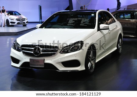 NONTHABURI - March 25: New Mercedes BENZ E 300 Bluetec Hybrid on display at The 35th Bangkok International Motor show on March 25, 2014 in Nonthaburi, Thailand.