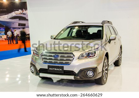 NONTHABURI - MARCH 24: Subaru Outback on display at Thailand 36th Bangkok International Motor Show 2015 on March 24, 2015 in Nonthaburi, Thailand. - stock photo