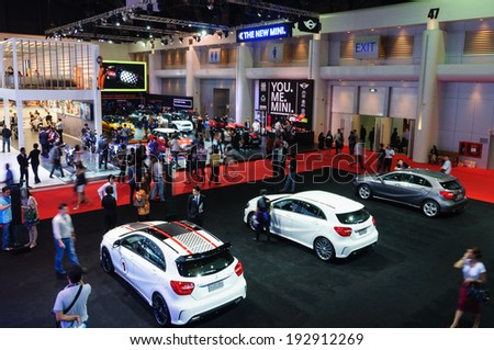 NONTHABURI - NOVEMBER 29: : General view of various models of cars are on display at the 35th Bangkok International Motor Show 2014 on March 25, 2014 in Nonthaburi, Thailand.  - stock photo