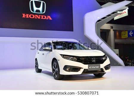 NONTHABURI - NOVEMBER 30:  Honda Civic car on display at Thailand International Motor Expo 2016 on November 30, 2016 in Nonthaburi, Thailand.