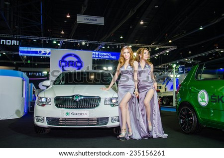NONTHABURI - NOVEMBER 28:  Skoda car with Unidentified model on display at Thailand International Motor Expo 2014 on November 28, 2014 in Nonthaburi, Thailand. - stock photo