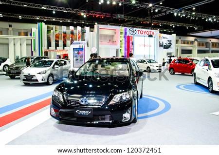 NONTHABURI - NOVEMBER 28: Toyota Camry Hybrid car on display at The 29th Thailand International Motor Expo  on November 28, 2012 in Nonthaburi, Thailand. - stock photo